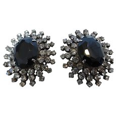 Vintage Black Glass & Rhinestone Cocktail Earrings