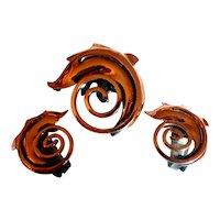 Vintage RAME Copper Swirl Brooch Pin Earrings Set