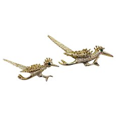 Vintage Gold Tone Roadrunner Pins Pair
