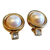 Signed Givenchy Paris New York Faux Mabe Pearl Earrings