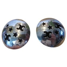 Sterling Silver Pierced Button Stud Earrings