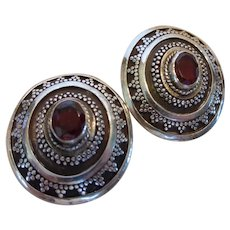 Vintage Garnet Sterling Silver Earrings Post Style