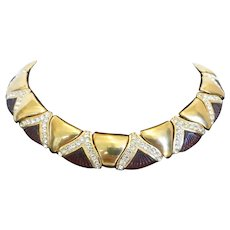 Vintage Art Deco Styled Molded Glass Crystal Rhinestone Gold Tone Necklace