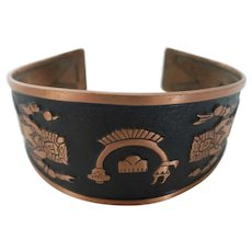 Bell Trading Post Solid Copper Cuff Bracelet Native American Indian Design