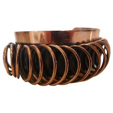 Signed Renoir Modernist Copper Coil Cuff Bracelet Book Piece
