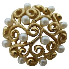 Trifari Signed Brooch Faux Pearl and Gold Tone