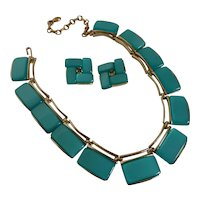 Vintage 1950s Lisner Thermoset Necklace Earrings Set Mint