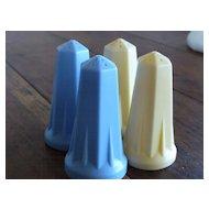 Vintage 1940's Hard Plastic Salt Pepper Art Deco Design Richelain Plastics  Set of 4