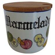 Knabstrup Danish Mid-Century Marmalade Jar w Teak Lid Denmark