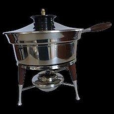 Ernest Sohn Mid-Century Modern Stainless Steel & Teak Chafing Dish