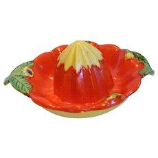 Vintage Ceramic Citrus Reamer Juicer, Flowers & Leaves 1940's Japan