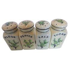 Moriyama Green Cherry Blossom Spice Shaker Set - Salt, Pepper, Flour Sugar