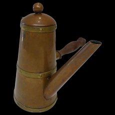 Vintage Copper Turkish Coffee Pot Wood Handle