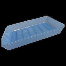 Rare Blue Glass 1940's Refrigerator Icebox Glass Chiller Tray Dish