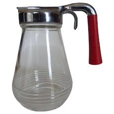 Vintage Glass Honey Syrup Pitcher w/ Red Handle & Chrome Lid