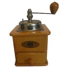 Vintage Zassenhaus Wooden Crank Coffee Mill Grinder Countertop