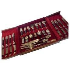 Vintage SIAM Brass and Teak Wood Buddha Flatware Set in Wood Case 29 Pc.