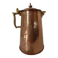Oversized Handmade Colonial Virginia Hammered Copper Coffee Pot Twisted Brass Handle
