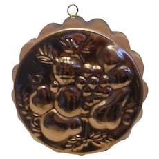 Vintage Copper Tin Lined Mold Fruit Motif Portugal