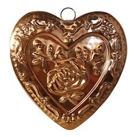 Vintage Copper Heart and Flowers Chocolate or Shortbread Mold Mould