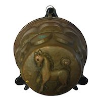 Antique French Hammered Copper Tin Lined Deep Mold w Horse