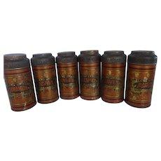 Antique Tin Litho Spice Tins Set of 6