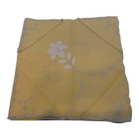 Yellow Madeira Linen Tablecloth & Napkins Set Floral Appliques MINT