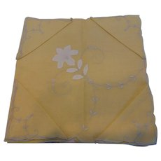 Yellow Madeira Linen Tablecloth & Napkins Set Floral Appliques MINT