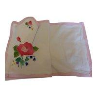 Vintage Applique Embroidered Placemats & Matching Napkins 6 Prs – 12 Pcs Mint