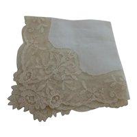 Antique European Linen Lace Edge Bridal Wedding Hankie Handkerchief