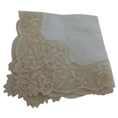 Antique European Linen Lace Edge Bridal Wedding Hankie Handkerchief