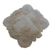 Vintage Belgium Lace Linen Bridal Wedding Handkerchief
