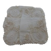 Antique Belgium Lace Linen Bridal Wedding Handkerchief