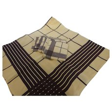 1950s Vintage Tablecloth & Six Napkin Set with Woven Pattern