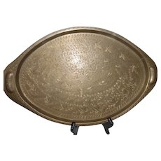 Vintage India Engraved Brass Serving Tray Platter - Red Tag Sale Item
