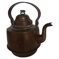 Antique European Copper Goose Neck Water or Tea Kettle Pot Bail Handle Pigtail Finial
