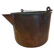 French Antique Hammered Copper Farm Bucket Pail w Spout and Handles
