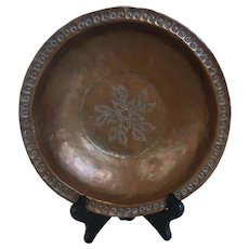 Hand Wrought Hammered Copper Bowl Dish