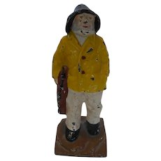 "1920's Cast Iron ""Old Salt"" New England Fisherman Doorstop Bookend"