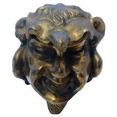 Vintage Brass Figural Devil's Head Gnome Gargoyle Inkwell