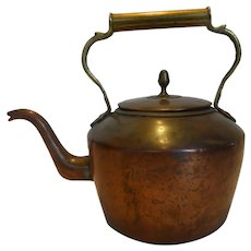 Antique Large Copper Kettle w Brass Handle