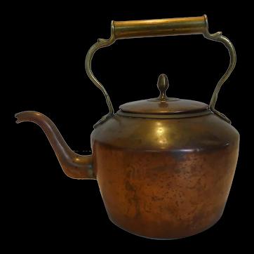Antique Large Copper Kettle w Brass Handle
