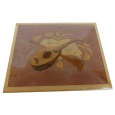 Vintage Music Box Italian Marquetry Inlaid Wood Mandolin Design
