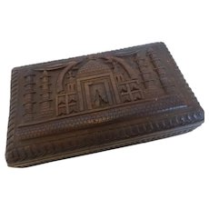 Carved Wood Trinket Box Middle Eastern Mosque Design
