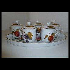 Royal Worcester Evesham Pot de Creme Set with Tray