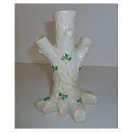 Irish Belleek Tree Trunk Triple Bud Vase Shamrocks