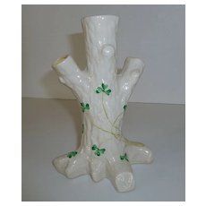 Irish Belleek Tree Trunk Triple Bud Vase Shamrocks - Red Tag Sale Item