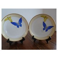 Rare Nippon Morimura Nippon Hand Painted Butterfly Plates - Pair