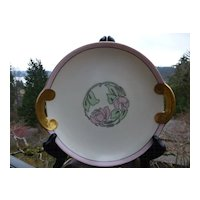 Pierced Handle Porcelain Plate, Artist Signed 1929