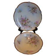 Antique Hand Painted Porcelain Serving Bowl and 12″ Plate Germany